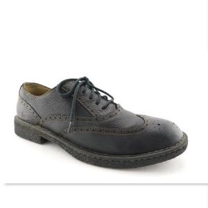 BORN Black Leather Lace-up Wingtip Oxford Shoes 12